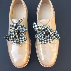 Zara platform shoes with gingham laces